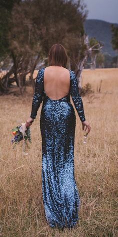 Something Blue: 30 Blue Wedding Gowns For your Happy Wedding ❤  blue wedding dresses sheath low back with long sleeves sequins sarah burton #weddingforward #wedding #bride White Bridal Dresses, Formal Dresses, Marriage, Romantic, Bride, Celebrities, Fashion, Dresses For Formal, Valentines Day Weddings