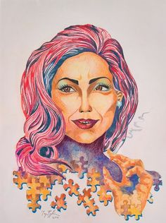 """""""Lady Gaga/She's a Puzzle"""" colour pencil on paper, 42x30cm, 2016"""