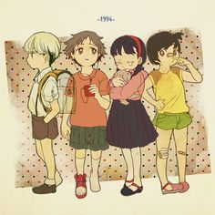 P4 — Ah! I forgot that Chie and Yosuke have dyed their hair, also this picture is precious!!!!!