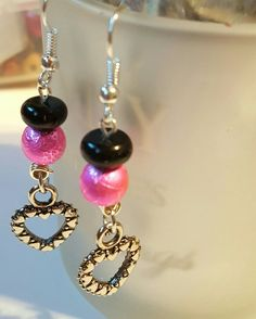 Hot pink and Black earrings with heart charms