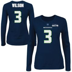 942e72a84 Russell Wilson Seattle Seahawks Majestic Womens Fair Catch V Name and  Number Long Sleeve T-Shirt – College Navy