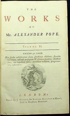 Alexander Pope THE WORKS 1735 Folio Essay on Man Dunciad Satires &c 1ST ED NR