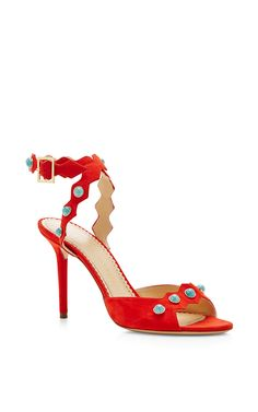Santa Fe Suede Embellished Sandals by Charlotte Olympia - Moda Operandi Red Turquoise, Aqua, Coral, Embellished Sandals, Fashion Heels, Charlotte Olympia, Santa Fe, Girls Shoes, Purses