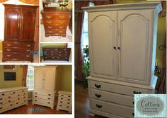 Before and After of 3-piece bedroom set. Painted in Annie Sloan Chalk Paint Old Ochre and finished in Clear Wax. Totally transformed look for this couple's bedroom!