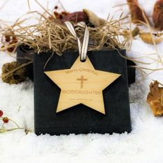 Engraved Maple Wood Star Goddaughter Decoration