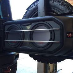 "2015 Jeep Wrangler Rubicon  custom 2 10"" alpine Type-R subwoofers with pressed grill mesh and aluminum protection rods by Audiotoyz.(AFTER) - Yelp"