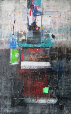"Saatchi Art Artist Damjan Pavlovic; Painting, ""A51 (Contemporary abstract minimalist Spiritual Architecture Landscape Acrylic on canvas Large wall art Painting)"" #art"