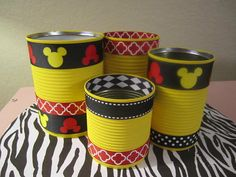 Set of 4 MICKEY MOUSE CANS/Tins Decorated in Yellow, Red and Black