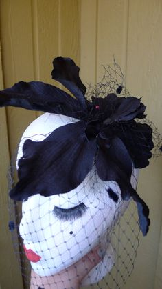 Vintage Black Velvet  Flower Hair Clip with Birdcage Veil. Dark , Witchy Retro, Gothic, Pin Up, Hollywood, Rockabilly, OOAK!!! by princessmadisonparis on Etsy
