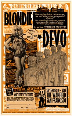 INSIDE THE ROCK POSTER FRAME BLOG: Blondie & Devo at The Warfield Poster by Chuck Sperry