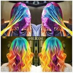 During and after rainbow transformation by @bescene #rainbowhair #hairaddiction #beauty