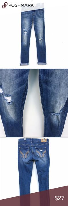 Hollister Light Wash Distressed Jeans Hollister distressed skinny jeans, W24 , L29. Size 0S. Ends are just rolled for cover shot, and can be unrolled. Hollister Jeans Skinny