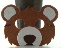 Items similar to Kids Brown Bear Mask - Bear Costume - Animal Mask for Pretend Play - Halloween Mask on Etsy Bear Halloween, Halloween Masks, Halloween Items, Costume Ours, Mouse Costume, Animals For Kids, Felt Animals, Teddy Bear Costume, Kids Bear Costume