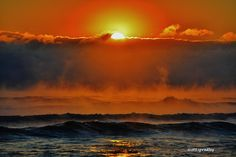Red Dawn (clouds fog sunrise+sunset Fall+colors beach from+the+sky tropical water waves ). Photo by FlaglerBeachBreeze