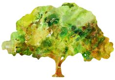 Tree Watercolor 11x14 Art Print by whimsicalgallery on Etsy
