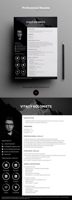 Modern Resume Template is a professional template specially design for graphic and web designers. It is available in PSD file format. Modern Resume Template, Resume Template Free, Creative Resume Templates, Graphic Design Resume, Cv Design, Report Design, Design Trends, Professional Resume Design, Photographer Resume