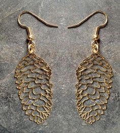 Gorgeous. :: Gold Pine Cone Earrings by Biodidactic