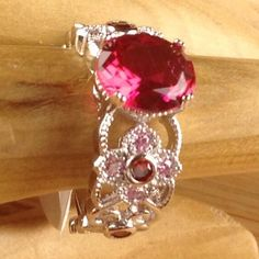 Retro 1.5 ctw Pink Tourmaline Sterling Silver Milgrain Flower Band Ring CH 055|We combine shipping|No Question Refunds|Bid over $60 for free shipping. Starting at $1