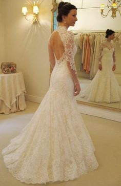 White ivory floor length keyhole wedding dress long by lucksell, $299.00