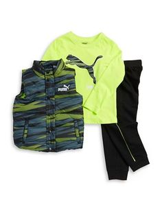 Puma Kids Boys 2-7 Patterned Puffer Vest, Logo Tee and Sweatpants Set