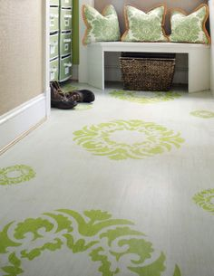 White and green stenciled floor - Sunny's Goodtime Paints