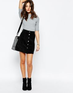 Image 1 of New Look Cord Button A-Line Skirt