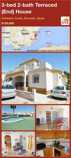 Terraced (End) House for Sale in Orihuela Costa, Alicante, Spain with 3 bedrooms, 2 bathrooms - A Spanish Life Single Bedroom, Double Bedroom, Murcia, Valencia, Alicante Spain, Family Bathroom, Cabo, Terrace, Costa