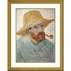 """Global Gallery 'Self Portrait 1888' by Vincent Van Gogh Framed Painting Print Size: 40"""" H x 31.65"""" W x 1.5"""" D"""