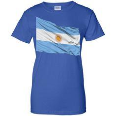 argentina flag 1-01 Ladies Custom 100% Cotton T-Shirt