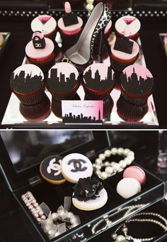 Dessert table inspired by Chanel & Sex and the City with martini & olive cake pops, Chanel cookies, and a pink skyline cake with high heel cake topper. Festa Gossip Girl, Gossip Girl Party, Chanel Cookies, Chanel Cupcakes, Chanel Cake, Chocolates, 30th Birthday Themes, Birthday Ideas, Birthday Parties