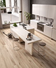 Modern kitchen ideas for your home, apartmen in and - A Kitchen Room Design, Modern Kitchen Design, Kitchen Layout, Home Decor Kitchen, Kitchen Furniture, Kitchen Interior, Home Interior Design, Home Kitchens, Küchen Design