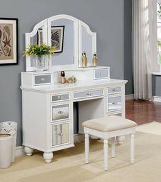 Tracy Contemporary White Solid Wood Veneer Vanity w/Stool