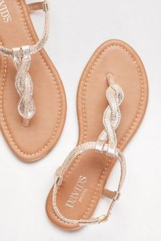 For a long night of dancing, a pair of cute but comfortable sandals are perfect for prom! Shop these gold twisted t-strap sandals from David's Bridal Shoes Flats Sandals, Sandals Outfit, Cute Sandals, T Strap Sandals, Cute Shoes, Me Too Shoes, Pretty Shoes, Bridesmaid Shoes, Prom Shoes