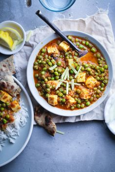 Matar Paneer - Fresh peas and soft cheese in spicy curry
