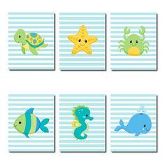 Boy Nursery Sea Animals Beach Blue Aqua Artwork Fish Starfish Seahorse Turtle Whale Crab Set of 6 Prints Boy Bathroom Wall Art Decor Picture Sea Life Nursery, Whale Nursery, Animal Nursery, Nursery Wall Art, Nursery Ideas, Kids Bathroom Sets, Boys Bathroom Decor, Bathroom Wall Art, Bathroom Ideas