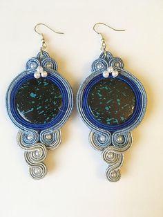 Soutache/sutasz/braccialli earrings  blue and grey with