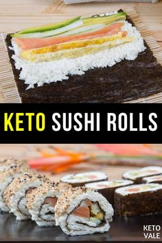 Keto Salmon Sushi Rolls Recipe Keto Salmon Sushi Rolls - If you've been missing sushi on a keto diet then this low carb salmon sushi recipe is for you. Keto Salmon, Salmon Sushi, Grilled Salmon, Baked Salmon, Paleo Vegan, Salmón Keto, Keto Meal, Sushi Fillings, Low Carb Sushi
