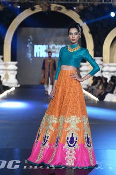 Colorful lengha by Ali Xeeshan at PFDC Loreal Bridal Fashion Week 2013