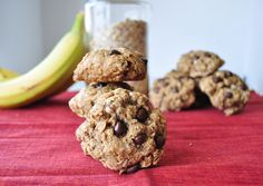Healthy Oatmeal Chocolate chip cookies.  Oats, flour, egg (or flax egg), applesauce, soymilk, etc