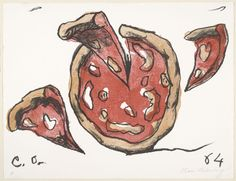 Claes Oldenburg (American, born Sweden 1929)  Flying Pizza from New York Ten  Date:(1964, published 1965)Medium:Lithograph from a portfolio with seven screenprints, one etching, one lithograph, and one embossingDimensions:composition (irreg.): 15 9/16 x 21 7/16 (39.5 x 54.5 cm); sheet: 17 x 22 3/16 (43.2 x 56.3 cm)Credit Line:Law Foundation FundMoMA Number:523.1965.8Copyright:© 2013 Claes Oldenburg