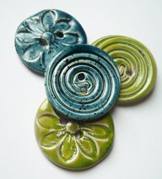 Large Flower and Spiral Ceramic Buttons by buttonalia on Etsy, $20.00