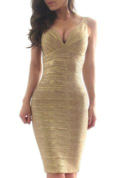 """A simply stunning matte gold bandage bodycon dress featuring a sweetheart neckline and a hidden zipper with a hook-eye closure. Thin straps. Stretch fit. Knit. Medium weight. *35"""" approx. length from"""