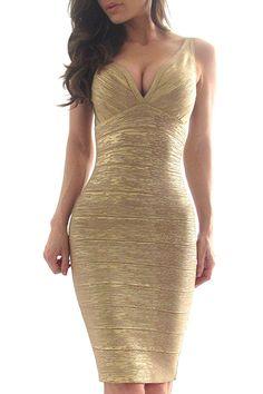 Song Bandage Dress Gold