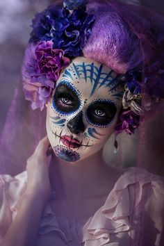 Gorgeous Dia De Los Muertos Halloween Costume & makeup.