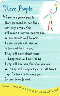 Friendship Quotes : Wallet Cards – Rare People Someone Special Quotes, Special Friend Quotes, Friend Poems, Best Friend Quotes, Special Friends, Nice Quotes For Friends, Lifetime Friends Quotes, Dear Friend, Thank You Quotes