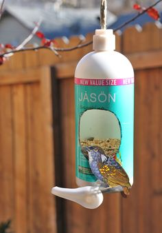 Upcycled Bird Feeder From a Shampoo bottle