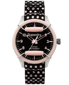Scuba Polka Pink and Black Dot Silicone Strap Watch