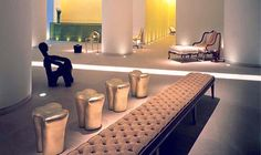 Cool and contemporary with a touch of humour, this Philippe Starck-designed interior in Saint Martins Lane Hotel, London