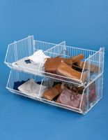 Tiered Wire Dump Bin w/ Removable Dividers, 2 Compartments - White
