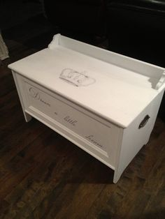 Ikea Hack - Leksvik wooden storage chest painted with AS chalk paint in 'Pure White', clear waxed. Crown image from the Graphics Fairy, hand coloured in black ink